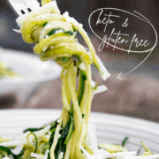 A fork twirled with a healthy zucchini noodles recipe that is keto and gluten free
