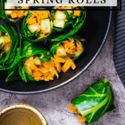 A healthy vegetarian collard green spring rolls recipe with two dipping sauces