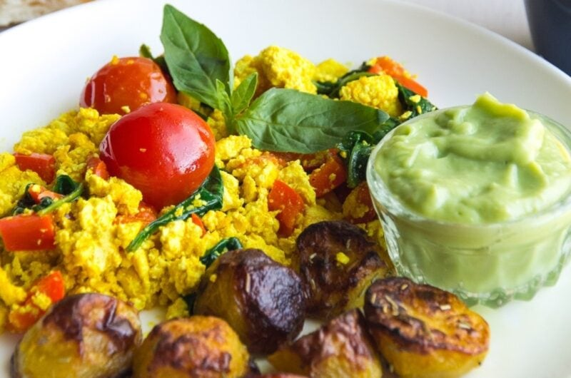 Tofu Scramble With Spinach And Tomatoes