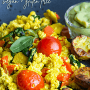 A healthy and delicious vegan and gluten free recipe for a tofu scramble