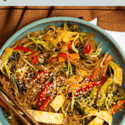 A plate of delicious paleo and gluten free japchae noodles with vegetables