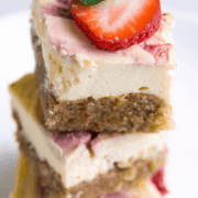 A stack of perfectly keto strawberry cheesecake squares