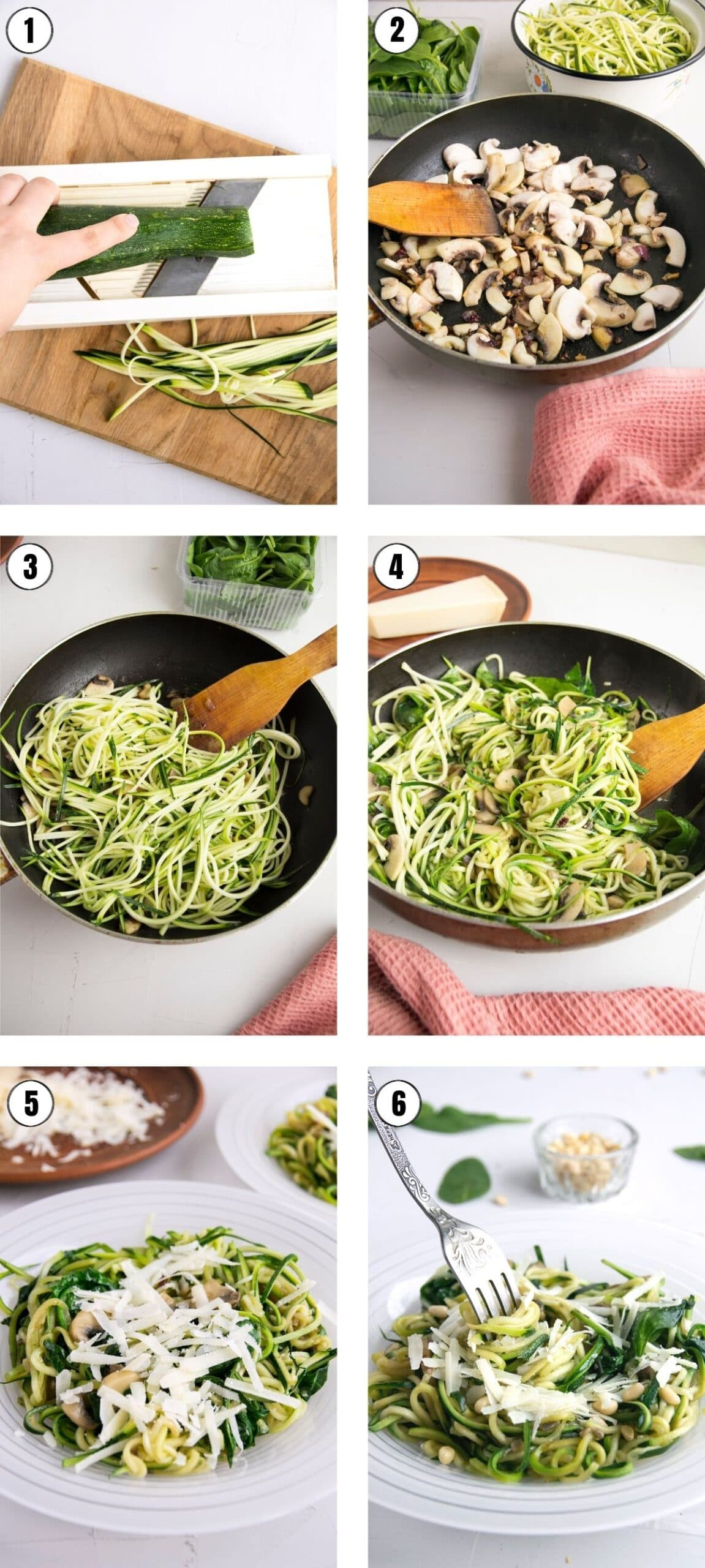 Easy recipe steps for how to make zucchini noodles.