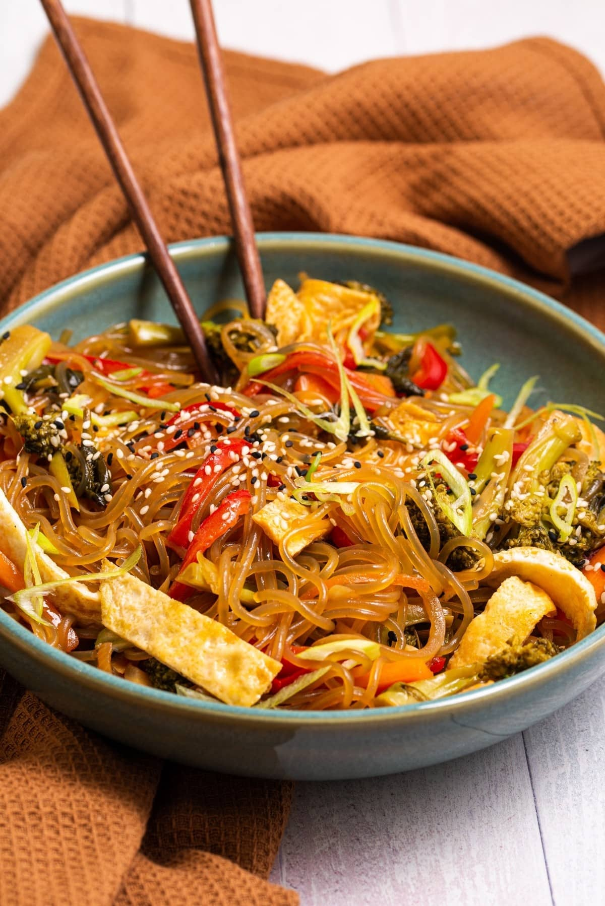 Vegetarian, paleo, and gluten free sweet potato glass noodles and vegetables.
