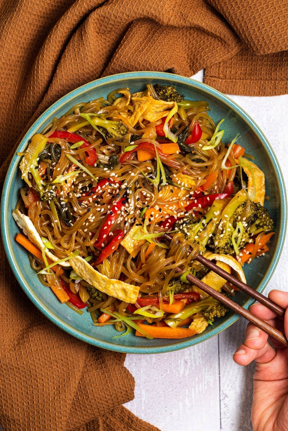 Paleo and gluten free japchae noodle recipe with vegetables.