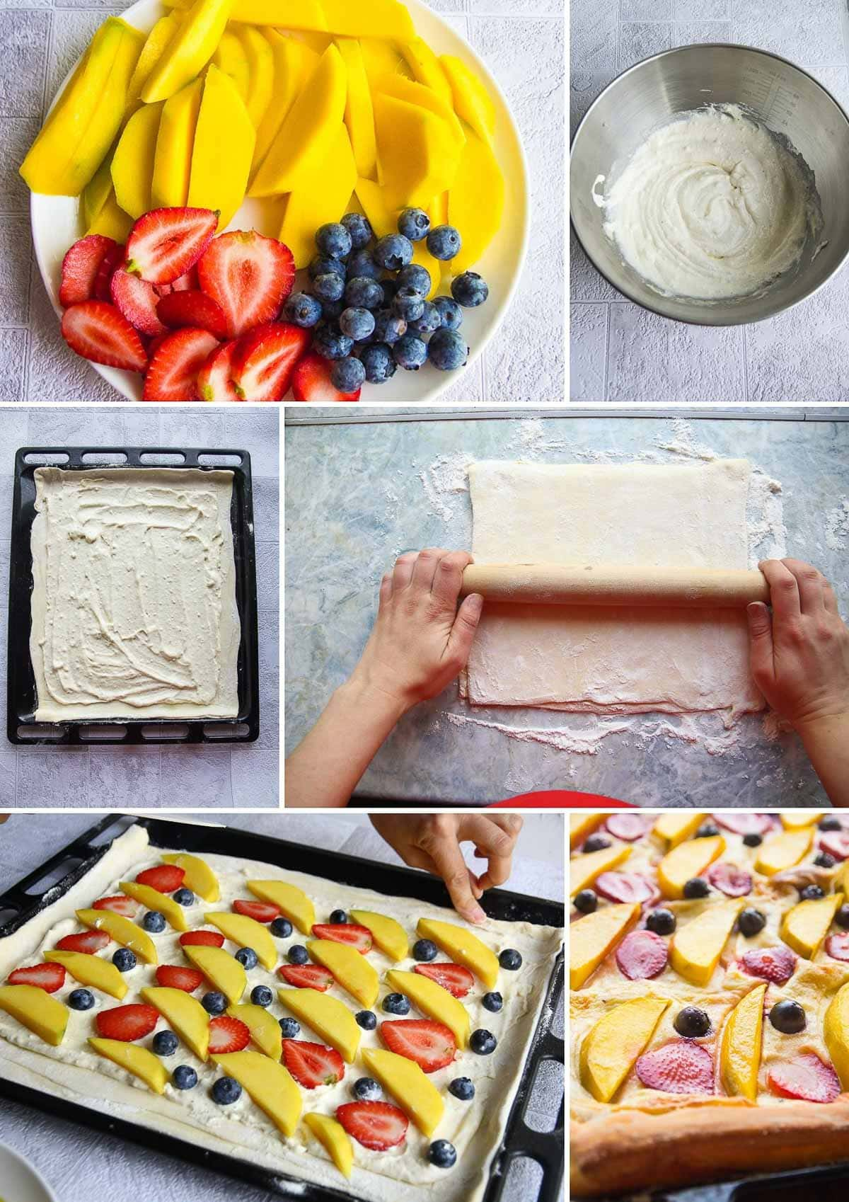 A collage of the recipe steps to make a vegan fruit tart.
