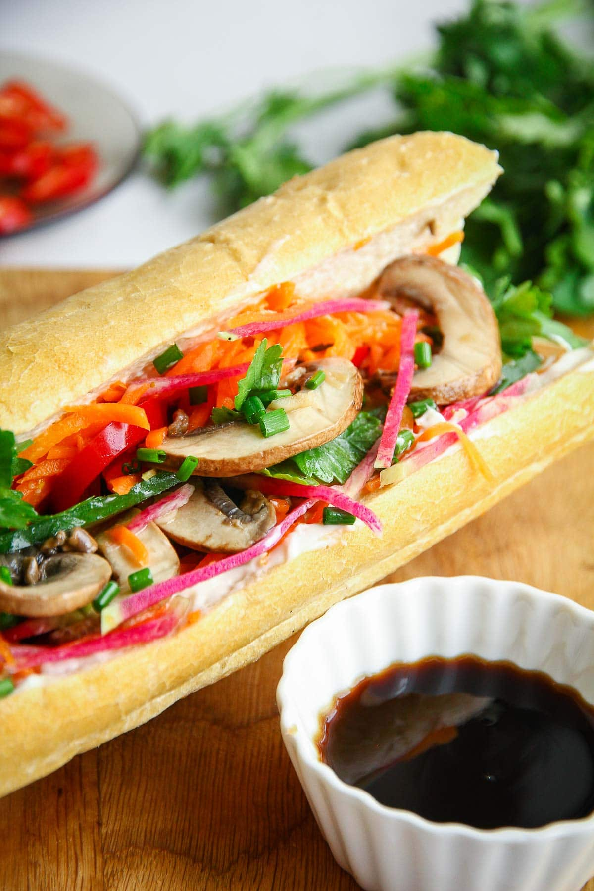A delicious and flavorful vegan Vietnamese banh mi sandwich made with mushrooms.