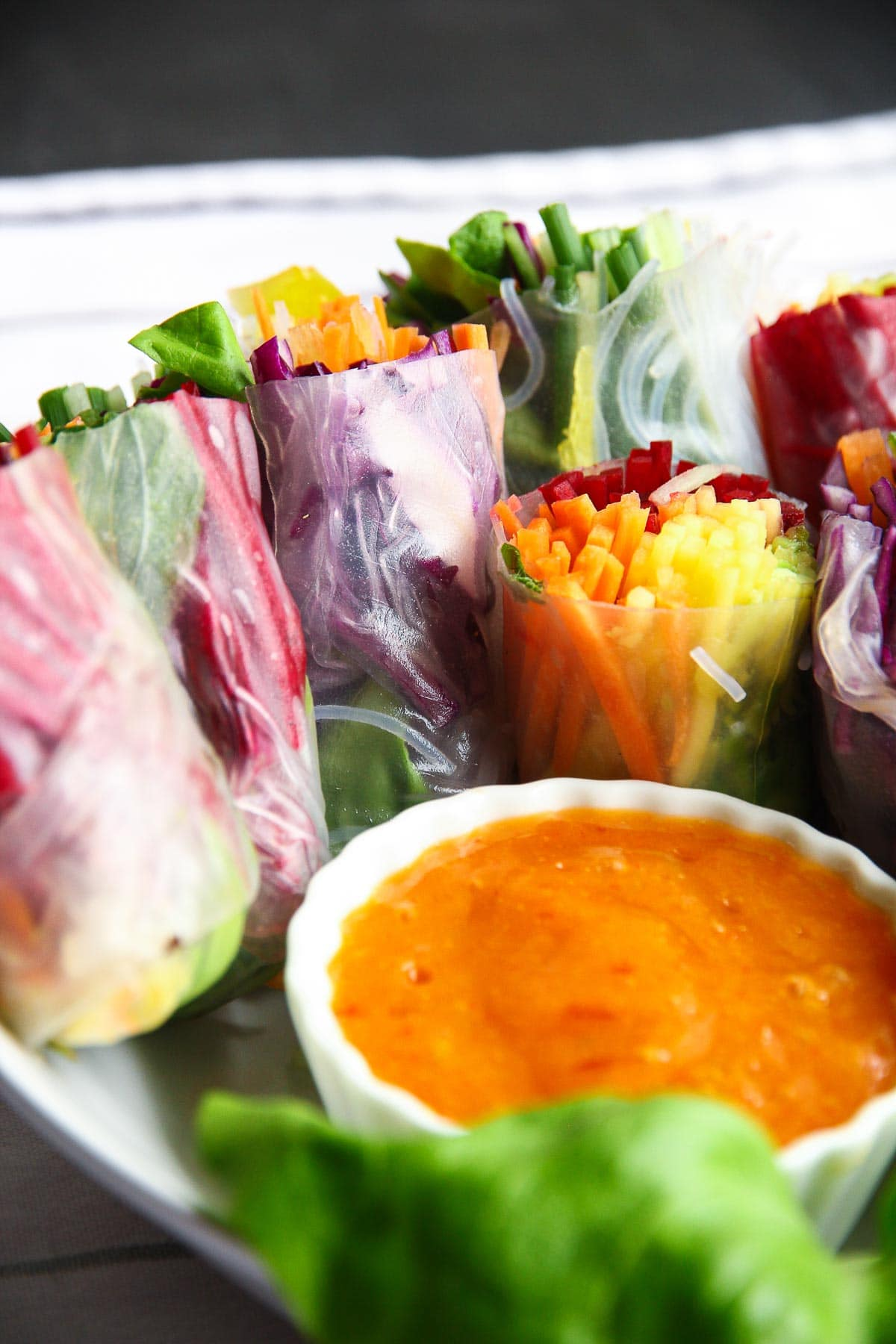 Healthy vegetarian rainbow spring rolls with a mango chili dipping sauce.