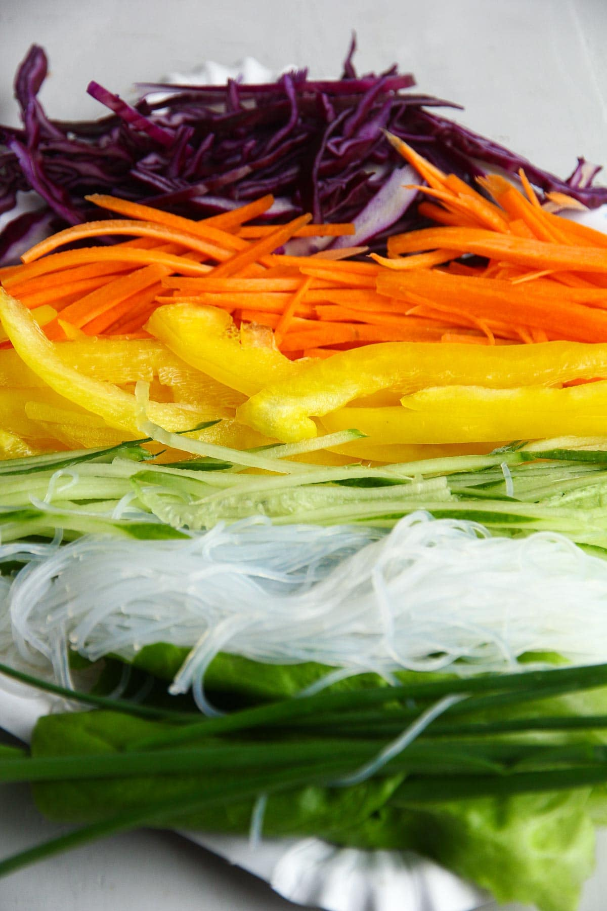 Spring rolls ingredients of fresh vegetables and vermicelli noodles.