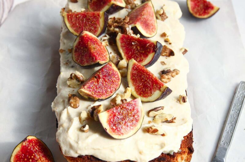 Vegan Fig And Walnut Loaf Cake With Cream Cheese Frosting